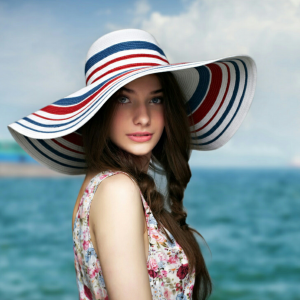 Bow Straw Hat Summer Sun Beach