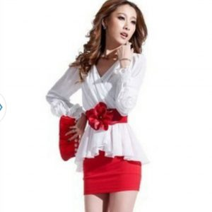 Tight Hip Sexy V Collar's Long Sleeved Chiffon Dress Autumn