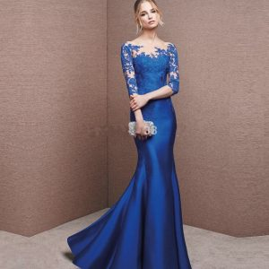 Sexy-Blue-Long-Prom-Dresses-Sleeve-Applique-Mermaid-Sweetheart-Long-Mermaid-Evening-Dress