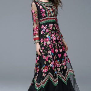 Retro Noble Floral Embroidery Long Dress-black